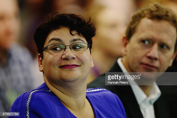 Coleader of the Green Party Metiria Turei and former coleader Russel Norman listen as newly appointed coleader James Shaw speaks at the Green Party...