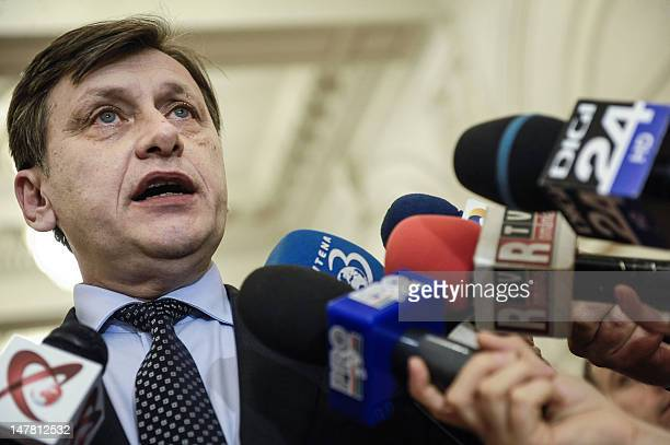 Coleader of the Romanian National Liberal Party and new Senate speaker Crin Antonescu talks to the media in Bucharest on July 3 2012 Romanian...