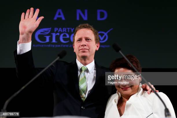 Coleaders Metiria Turei and Russel Norman salute supporters after making speeches during the Green's 2014 General Election party at Hopetoun Alpha on...