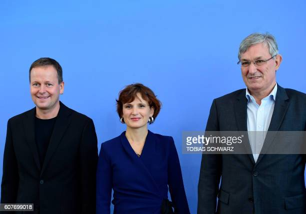 Coleaders of the leftwing Die Linke party Bernd Riexinger and Katja Kipping and their top candidate in Berlin Klaus Lederer arrive for a news...