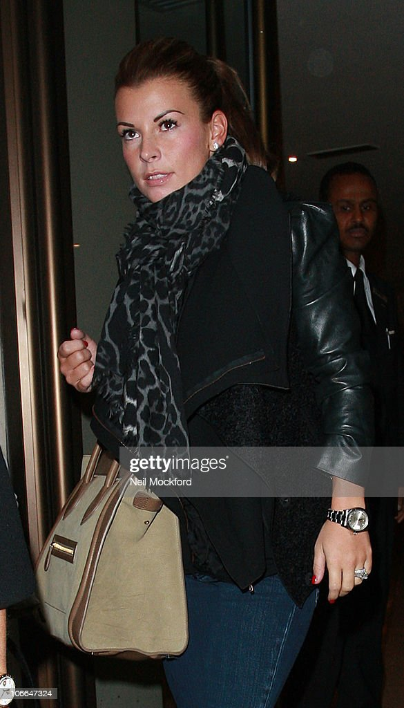 Coleen Rooney sighted leaving her hotel and heading to Euston train station on November 9, 2010 in London, England.