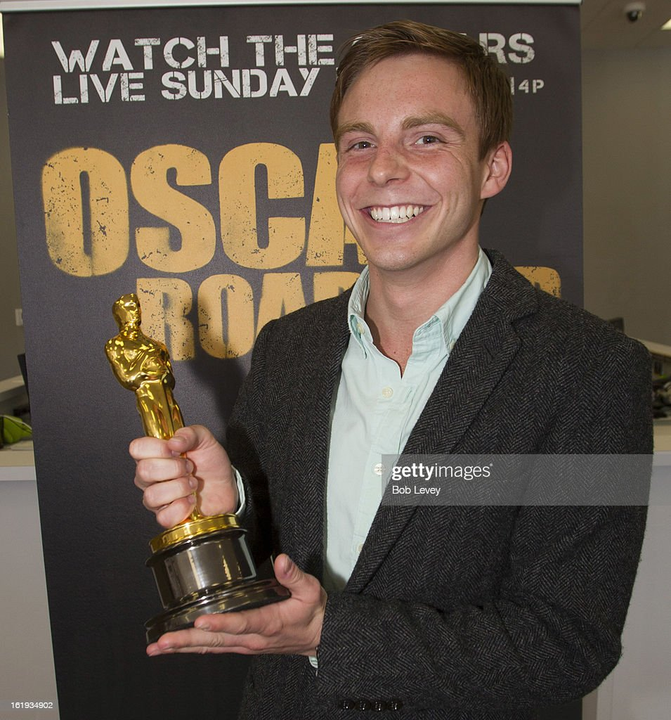 Coleman Tharpe, a film major at the University of Texas, drove with his family for over 3 hours to hold the Oscar statue during the First-Ever Oscar Roadtrip on February 17, 2013 in Houston, Texas.