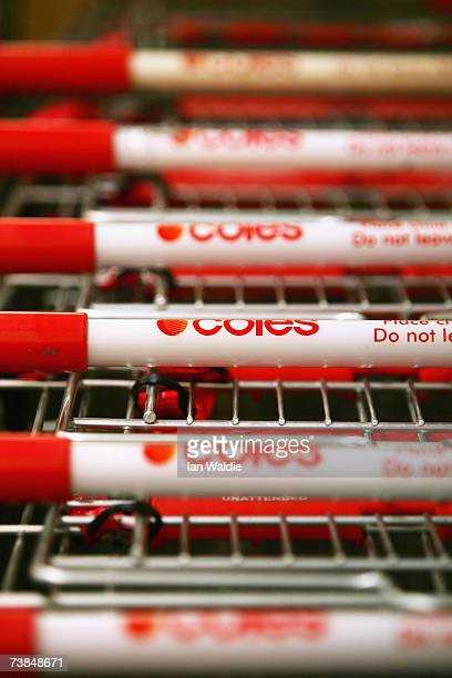 Coles supermarket trollies are lined up at an outlet on April 10 2007 in Sydney Australia The supermarket giant announced that it has rejected a $AUD...