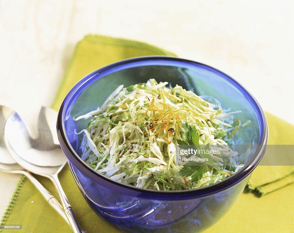 Coleslaw in blue bowl : Stock Photo