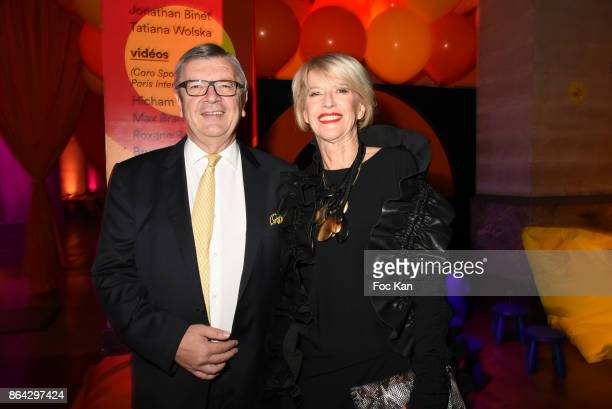R 20 Colette Barbier from Fondation Ricard and Philippe Savinel President of Fondation Ricard attend the 'Bal Jaune Elastique 2017' Dinner Party at...