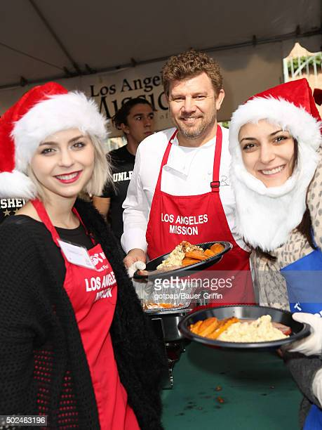 Colette Carr and Ben Ford are seen at the annual Los Angeles Mission Christmas Dinner on December 24 2015 in Los Angeles California