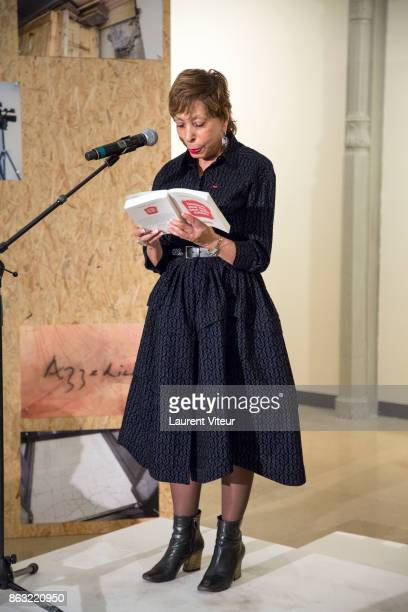 Colette Kerber reads 'Tombeau pour Cinq Cent Mille Soldats' for 50th anniversary of the book at Azzedine Alaia Gallery on October 19 2017 in Paris...