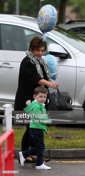 Colette Mcloughlin and Kai Rooney arrive at Liverpool Women's Hospital to visit Coleen who gave birth to Klay Anthony Rooney at 211am
