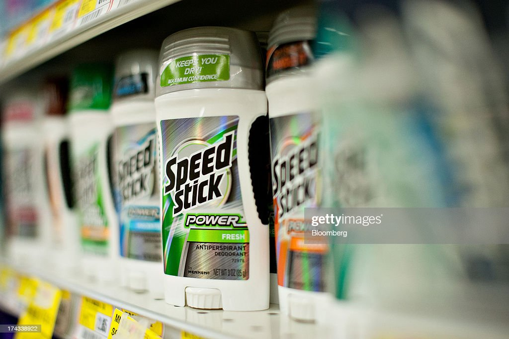 Colgate-Palmolive Co. Speed Stick brand deodorant are displayed for sale on a supermarket shelf in Princeton, Illinois, U.S., on Tuesday, July 23, 2013. Colgate-Palmolive is scheduled to release second-quarter earnings on July 25. Photographer: Daniel Acker/Bloomberg via Getty Images