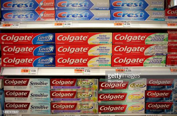 ColgatePalmolive Co toothpaste sits on the shelf at a supermarket in New York US on Wednesday July 25 2012 ColgatePalmolive Co is scheduled to report...