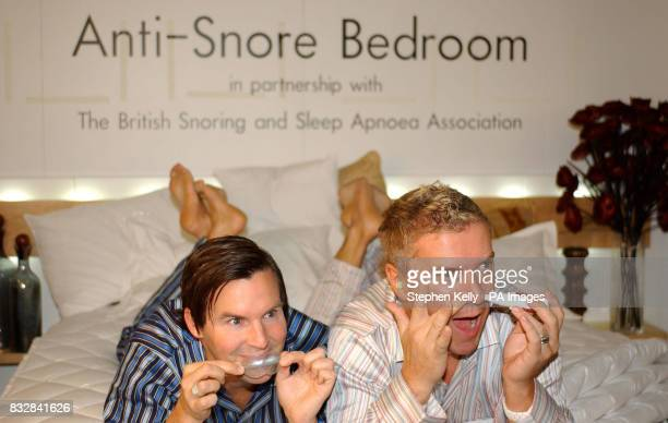 Colin and Justin model devices in the antisnore bedroom which is being launched at the Ideal Home Show in Earls Court London tomorrow