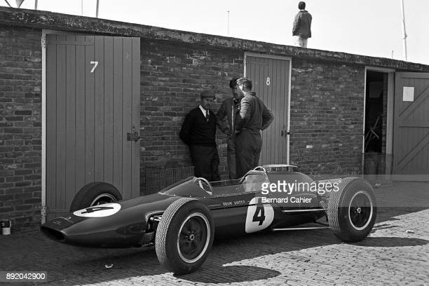 Colin Chapman Grand Prix of the Netherlands Circuit Park Zandvoort 20 May 1962 Colin Chapman standing next to Jim Clark's Lotus 25 during the 1962...