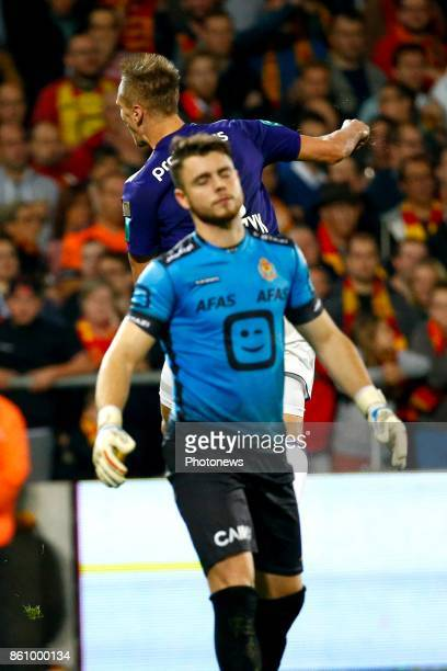 Colin Coosemans goalkeeper of KV Mechelen and Lukasz Teodorczyk forward of RSC Anderlecht celebrates pictured during the Jupiler Pro League match...