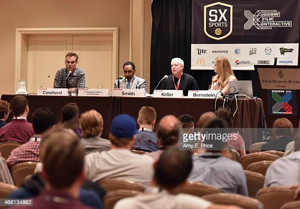 Colin Cowherd Stephen A Smith Traug Keller and Bonnie Bernstein speak onstage at 'The Evolution of Audio in the 21st Century' during the 2015 SXSW...