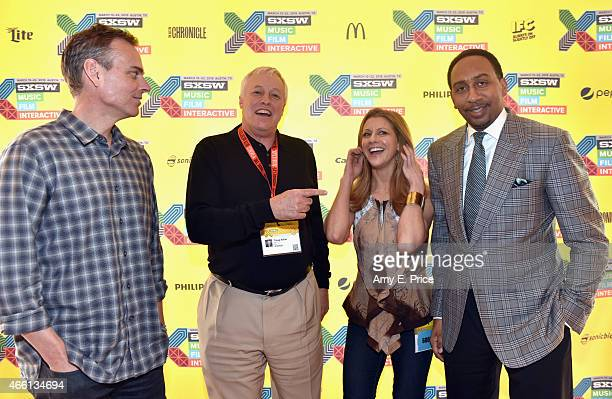 Colin Cowherd Traug Keller Bonnie Bernstein and Stephen A Smith attend 'The Evolution of Audio in the 21st Century' during the 2015 SXSW Music Film...