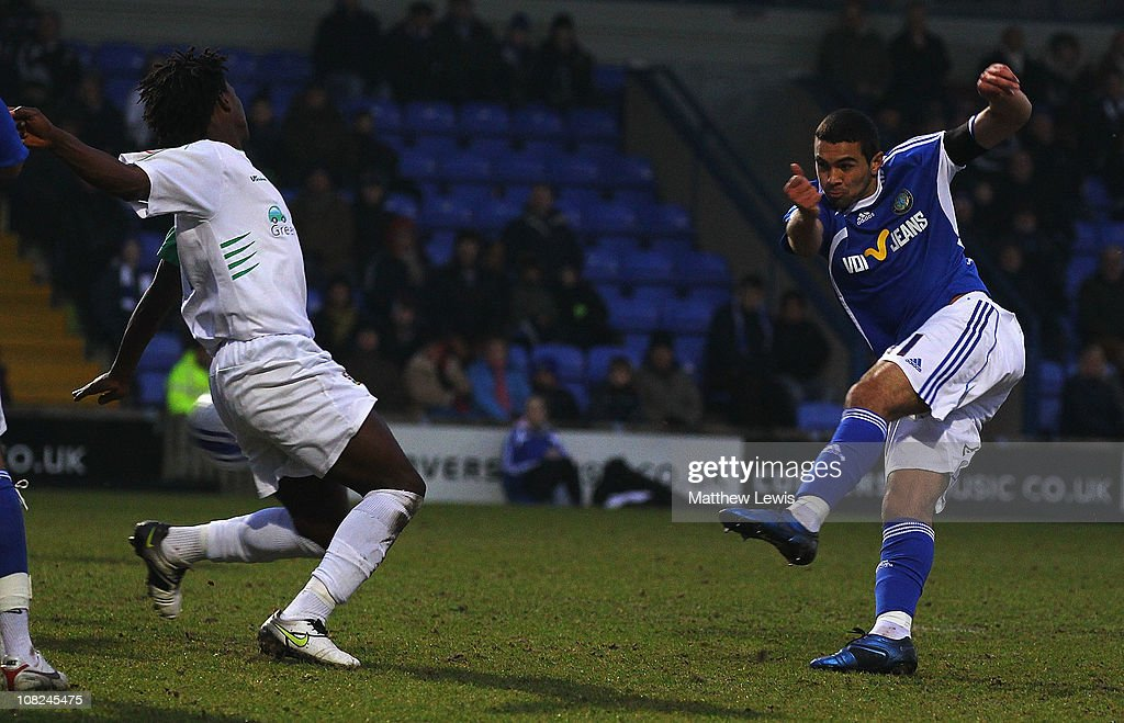 Colin Daniel of Macclesfield scores a goal during the npower League Two match between Macclesfield Town and Barnet at the Moss Rose Stadium on January 22, 2011 in Macclesfield, England.
