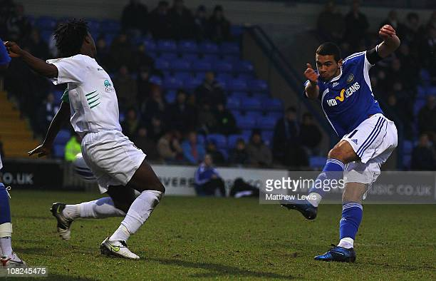 Colin Daniel of Macclesfield scores a goal during the npower League Two match between Macclesfield Town and Barnet at the Moss Rose Stadium on...