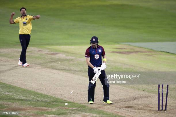 Colin de Grandhomme of Birmingham bowls Rob Keogh during the NatWest T20 Blast match between Northamptonshire Steelbacks and Birmingham Bears at The...