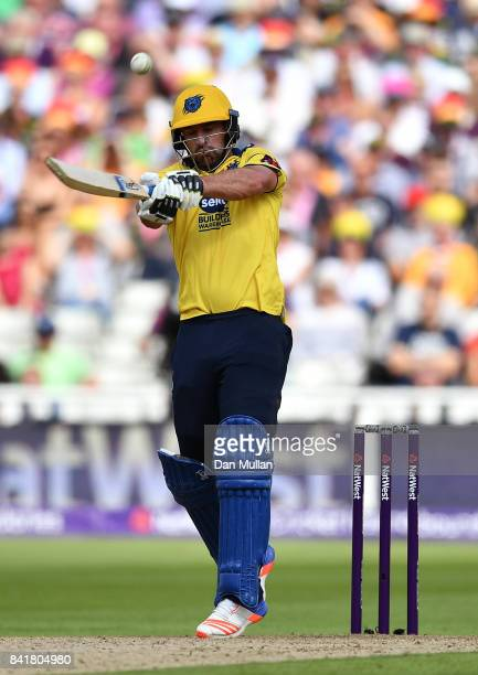 Colin de Grandhomme of Birmingham hits out during the NatWest T20 Blast SemiFinal match between Birmingham Bears and Glamorgan at Edgbaston on...