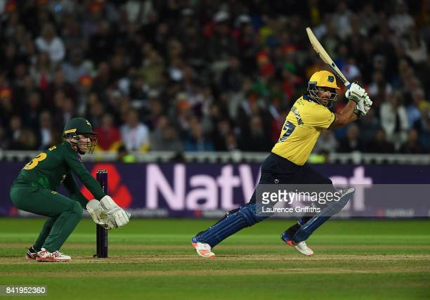 Colin de Grandhomme of Birmingham in action during the NatWest T20 Blast Final between Birmingham Bears and Notts Outlaws at Edgbaston on September 2...