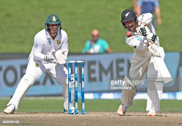 Colin de Grandhomme of New Zealand bats during day four of the Test match between New Zealand and South Africa at Seddon Park on March 28 2017 in...