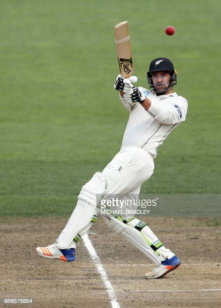 Colin de Grandhomme of New Zealand bats during day four of the third Test cricket match between New Zealand and South Africa at Seddon Park in...