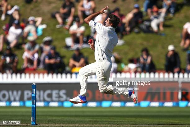 Colin de Grandhomme of New Zealand bowls during day two of the test match between New Zealand and South Africa at Basin Reserve on March 17 2017 in...