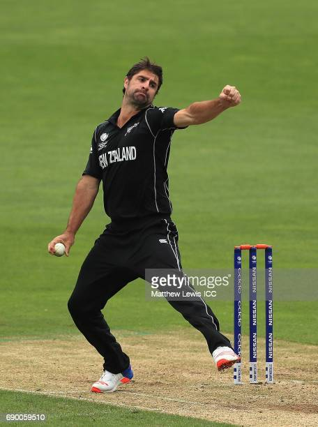 Colin de Grandhomme of New Zealand in action during the ICC Champions Trophy Warmup match between New Zealand and Sri Lanka at Edgbaston on May 30...