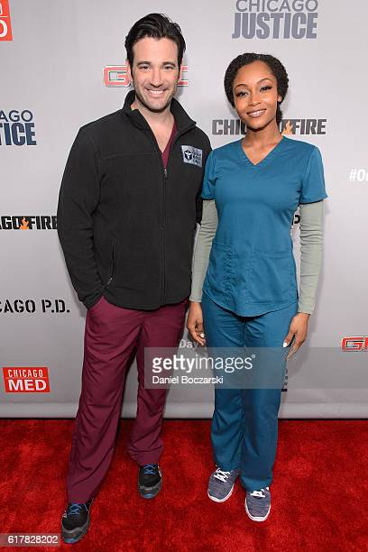 Colin Donnell and Yaya DaCosta attend NBC's Chicago series press day on October 24 2016 in Chicago Illinois