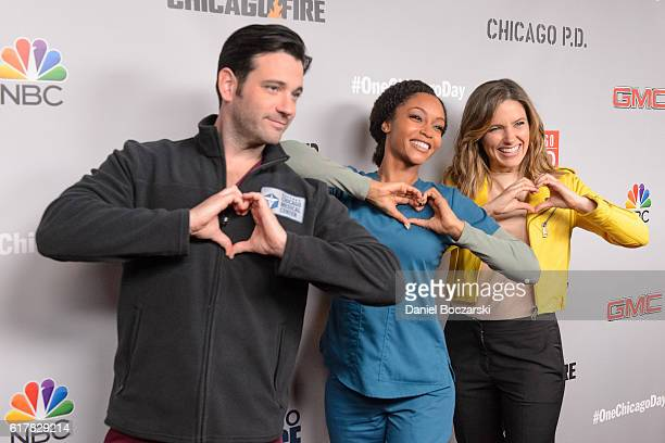 Colin Donnell Yaya DaCosta and Sophia Bush attend NBC's Chicago series press day on October 24 2016 in Chicago Illinois