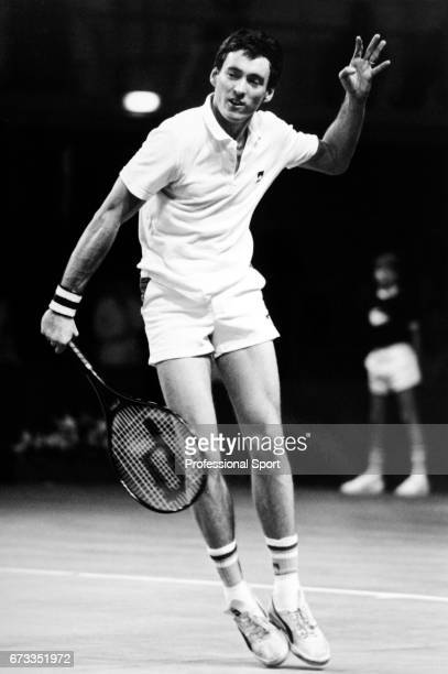 Colin Dowdeswell of Great Britain in action during the Refuge Assurance British Tennis Championships circa 1984