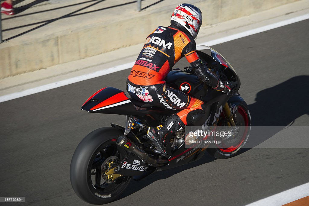 Colin Edwards of USA and NGM Mobile Forward Racing starts from box during the MotoGP Tests in Valencia - Day 2 at Ricardo Tormo Circuit on November 12, 2013 in Valencia, Spain.