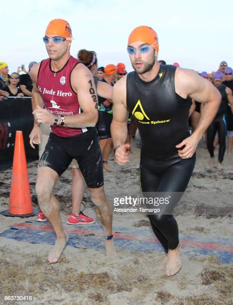 Colin Egglesfield and Chace Crawford are seen at the Life Time Triathalon on April 2 2017 in Miami Beach Florida