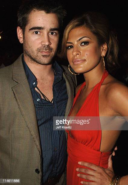 Colin Farrell and Eva Mendes during 2006 MTV Movie Awards Backstage and Audience at Sony Studios in Culver City California United States