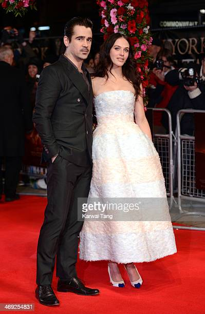 Colin Farrell and Jessica Brown Findlay attend the UK Premiere of 'A New York Winter's Tale' at ODEON Kensington on February 13 2014 in London England