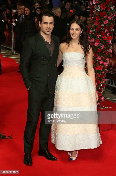 Colin Farrell and Jessica Brown Findlay attend the UK Premiere of 'New York Winter's Tale' at ODEON Kensington on February 13 2014 in London England