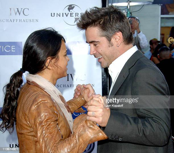 Colin Farrell and Michelle Rodriguez during 'Miami Vice' World Premiere Arrivals at Mann Village Westwood in Westwood California United States