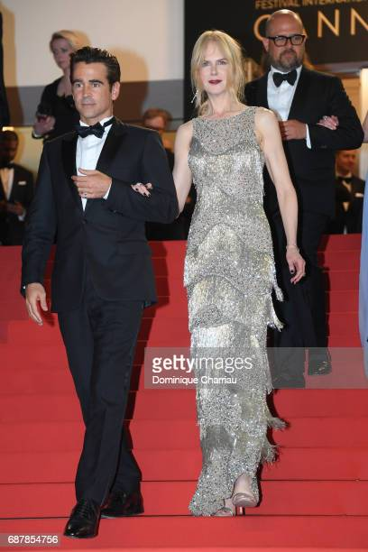 Colin Farrell and Nicole Kidman depart the 'The Beguiled' screening during the 70th annual Cannes Film Festival at Palais des Festivals on May 24...