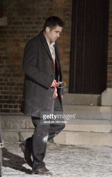 Colin Farrell during Colin Farrell and Ralph Fiennes on Location for 'In Bruges' February 14 2006 in Bruges Belgium