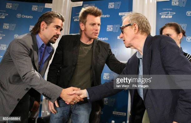 Colin Farrell Ewan McGregor and Woody Allen at a press conference for their new film 'Cassandra's Dreams' at the Sutton Hotel during the Toronto...