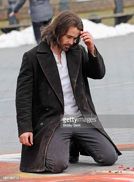 Colin Farrell filming on location for 'Winter's Tale' on the streets of Manhattan on February 19 2013 in New York City