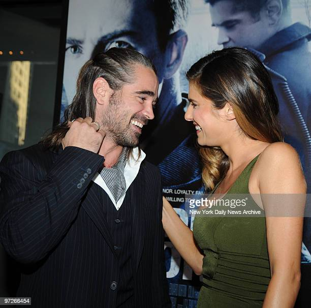Colin Farrell greets Lake Bell at the NY Premiere of the movie 'Pride And Glory' held at the Loews Lincoln Square