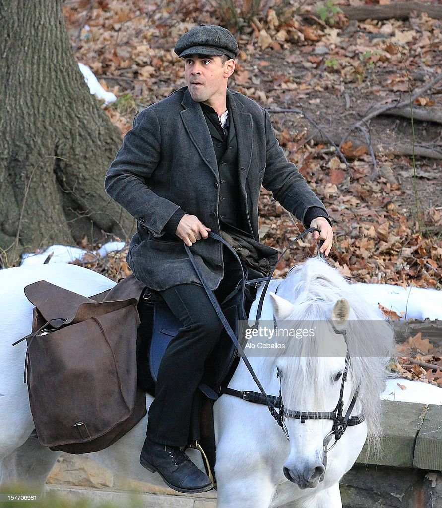 Colin Farrell is seen on the set of 'Winter's Tale' in Brooklyn on December 5, 2012 in New York City.