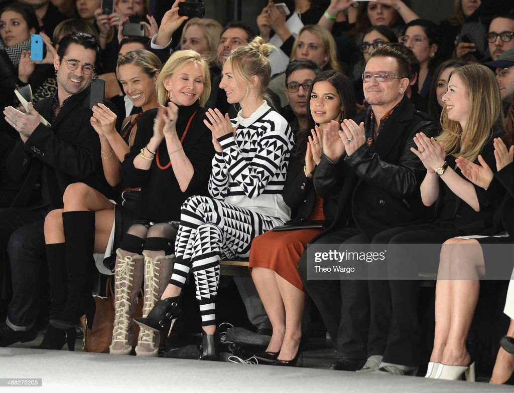 Colin Farrell, Petra Nemcova, Trudie Styler, Mickey Sumner, America Ferrera,Bono and Chelsea Clinton attend the Edun fashion show during Mercedes-Benz Fashion Week Fall 2014 at Skylight Modern on February 9, 2014 in New York City.