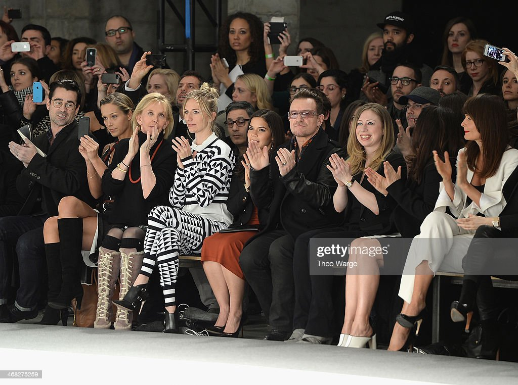 <a gi-track='captionPersonalityLinkClicked' href=/galleries/search?phrase=Colin+Farrell&family=editorial&specificpeople=202154 ng-click='$event.stopPropagation()'>Colin Farrell</a>, <a gi-track='captionPersonalityLinkClicked' href=/galleries/search?phrase=Petra+Nemcova&family=editorial&specificpeople=201716 ng-click='$event.stopPropagation()'>Petra Nemcova</a>, <a gi-track='captionPersonalityLinkClicked' href=/galleries/search?phrase=Trudie+Styler&family=editorial&specificpeople=203268 ng-click='$event.stopPropagation()'>Trudie Styler</a>, Mickey Sumner, <a gi-track='captionPersonalityLinkClicked' href=/galleries/search?phrase=America+Ferrera&family=editorial&specificpeople=216393 ng-click='$event.stopPropagation()'>America Ferrera</a>, <a gi-track='captionPersonalityLinkClicked' href=/galleries/search?phrase=Bono+-+Singer&family=editorial&specificpeople=167279 ng-click='$event.stopPropagation()'>Bono</a>, <a gi-track='captionPersonalityLinkClicked' href=/galleries/search?phrase=Chelsea+Clinton&family=editorial&specificpeople=119698 ng-click='$event.stopPropagation()'>Chelsea Clinton</a> and <a gi-track='captionPersonalityLinkClicked' href=/galleries/search?phrase=Helena+Christensen&family=editorial&specificpeople=202841 ng-click='$event.stopPropagation()'>Helena Christensen</a> attend the Edun fashion show during Mercedes-Benz Fashion Week Fall 2014 at Skylight Modern on February 9, 2014 in New York City.