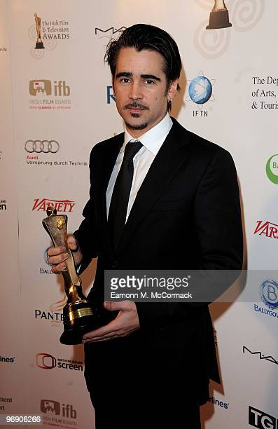 Colin Farrell poses with his award for Best Actor at The 7th Annual Irish Film And Television Awards at the Burlington Hotel on February 20 2010 in...