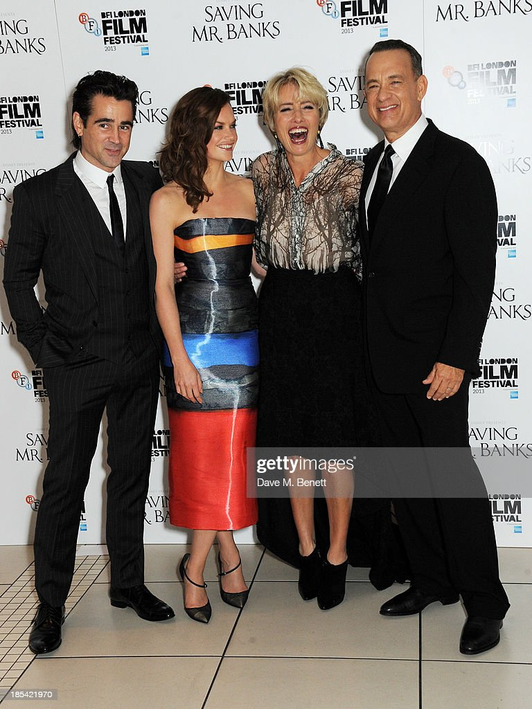 <a gi-track='captionPersonalityLinkClicked' href=/galleries/search?phrase=Colin+Farrell&family=editorial&specificpeople=202154 ng-click='$event.stopPropagation()'>Colin Farrell</a>, <a gi-track='captionPersonalityLinkClicked' href=/galleries/search?phrase=Ruth+Wilson&family=editorial&specificpeople=3111655 ng-click='$event.stopPropagation()'>Ruth Wilson</a>, <a gi-track='captionPersonalityLinkClicked' href=/galleries/search?phrase=Emma+Thompson&family=editorial&specificpeople=202848 ng-click='$event.stopPropagation()'>Emma Thompson</a> and <a gi-track='captionPersonalityLinkClicked' href=/galleries/search?phrase=Tom+Hanks&family=editorial&specificpeople=201790 ng-click='$event.stopPropagation()'>Tom Hanks</a> attend the Closing Night Gala European Premiere of 'Saving Mr Banks' during the 57th BFI London Film Festival at Odeon Leicester Square on October 20, 2013 in London, England.