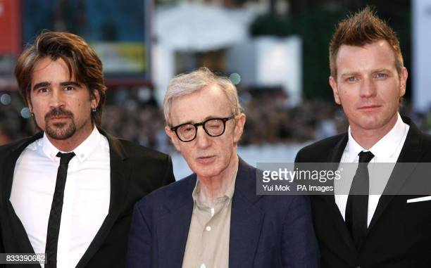 Colin Farrell Woody Allen and Ewan McGregor arrive for the premiere of 'Cassandra's Dream' during the Venice Film Festival in Italy