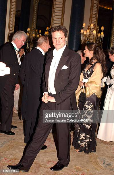 Colin Firth a guest of HM The Queen Elizabeth II as she welcomes the Italian Republic President and his wife Signora Ciampi at a State Banquet during...