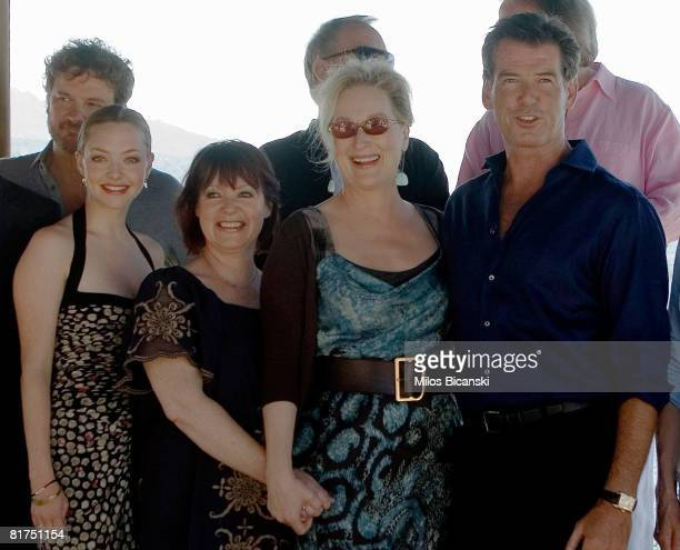Colin Firth Amanda Seyfried Mona Norklit Meryl Streep and Pierce Brosnan attend a photocall for the movie 'Mamma Mia' at the Lagonissi Grand Resort...